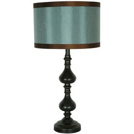 Bronze table lamp with blue and brown nubby silk drum shade.  $49.97.