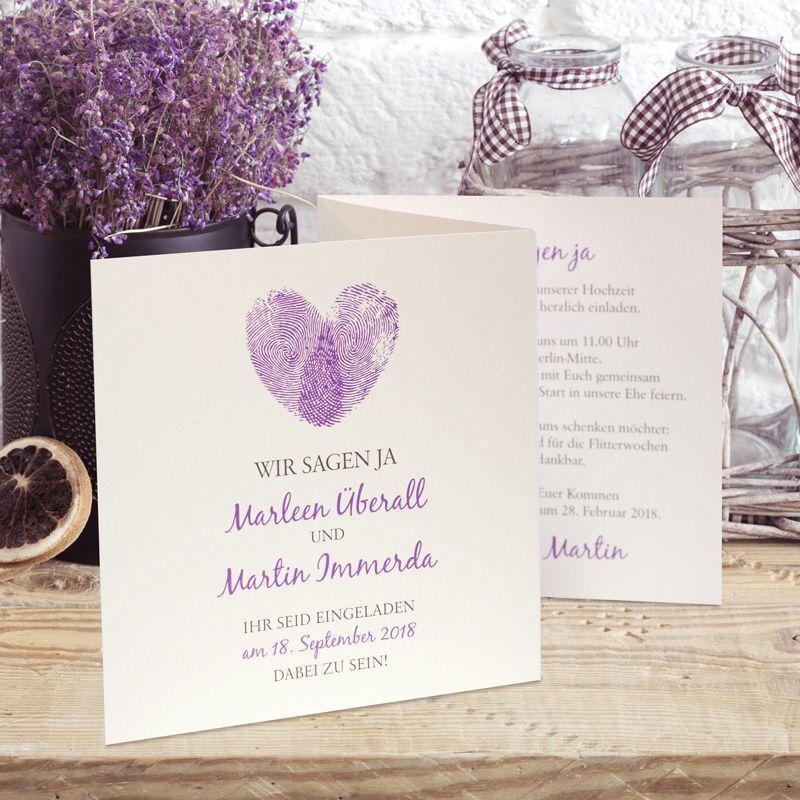Einladungskarte Hochzeit Fingerabdrücke Lila