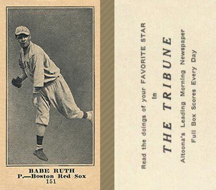 1916 Tribune Babe Ruth 151 Baseball Card Value Price Guide Baseball Card Values Babe Ruth Babe Ruth Baseball