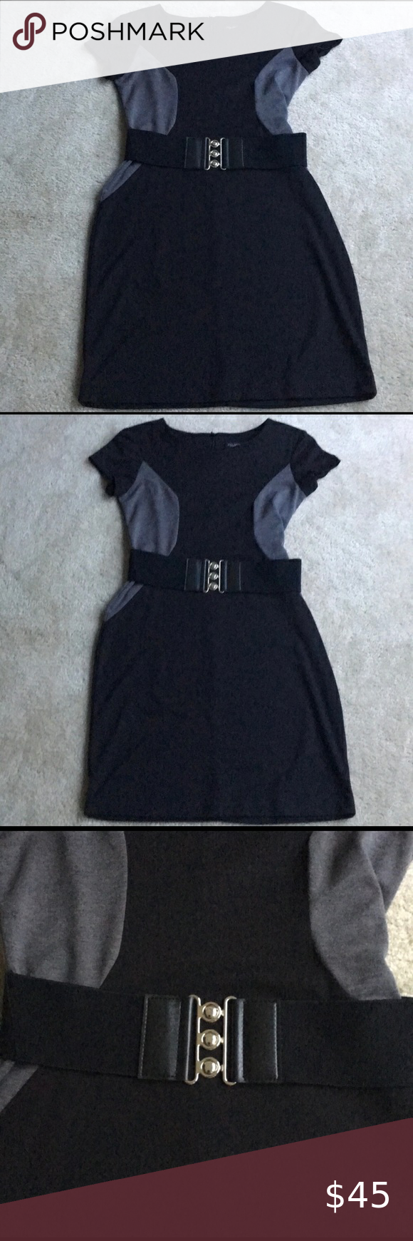 Roulette Black And Gray Dress With Belt Gray Dress Clothes Design Dresses [ 1740 x 580 Pixel ]