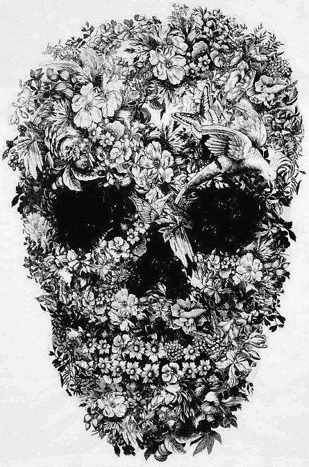 Skull Flowers Type Design Skull Art Skull Art