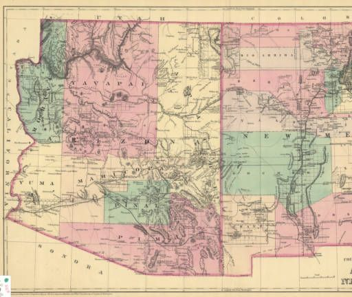 County and Township Map of Arizona and New Mexico :: New Mexico ...