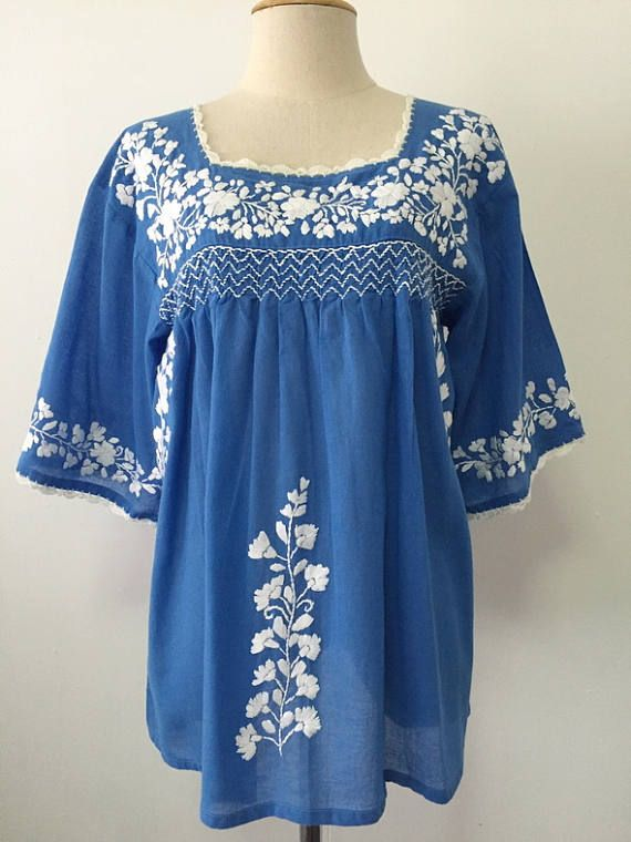 9a43663fd3080 Embroidered Mexican Blouse Cotton Top In Blue Boho Blouse