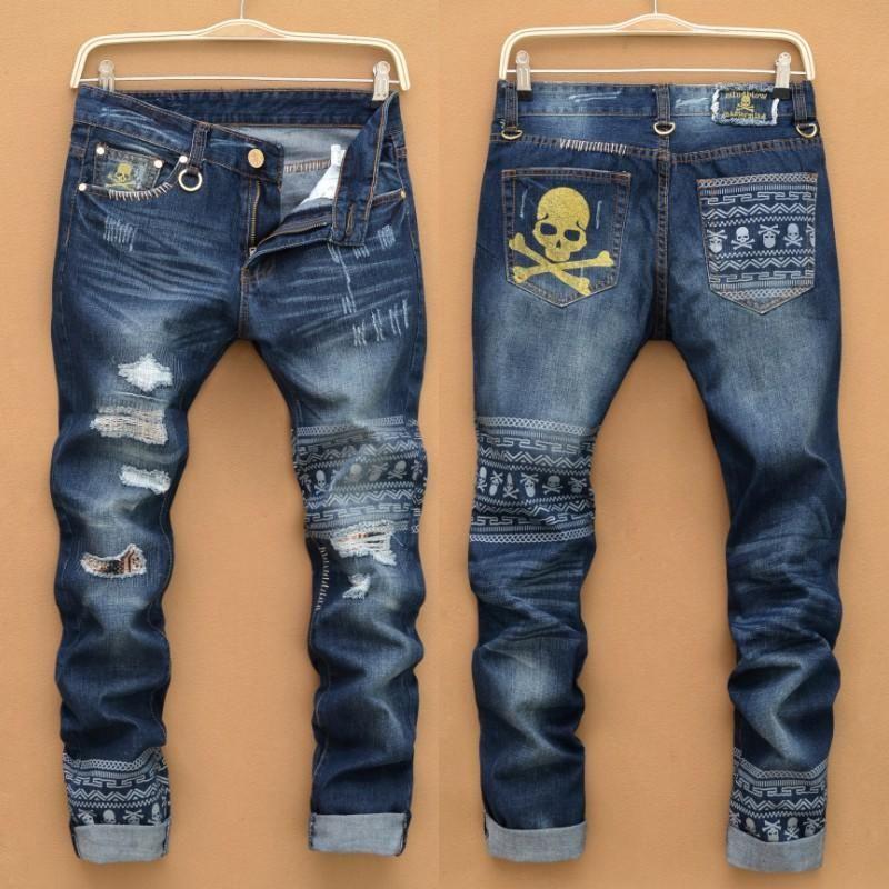 2016 Para Los Hombres Los Pantalones Vaqueros Rectos Con Estilo Del Disenador Clasico De La Impr Jeans De Moda Estilo De Ropa Hombre Pantalones Vaqueros Hombre