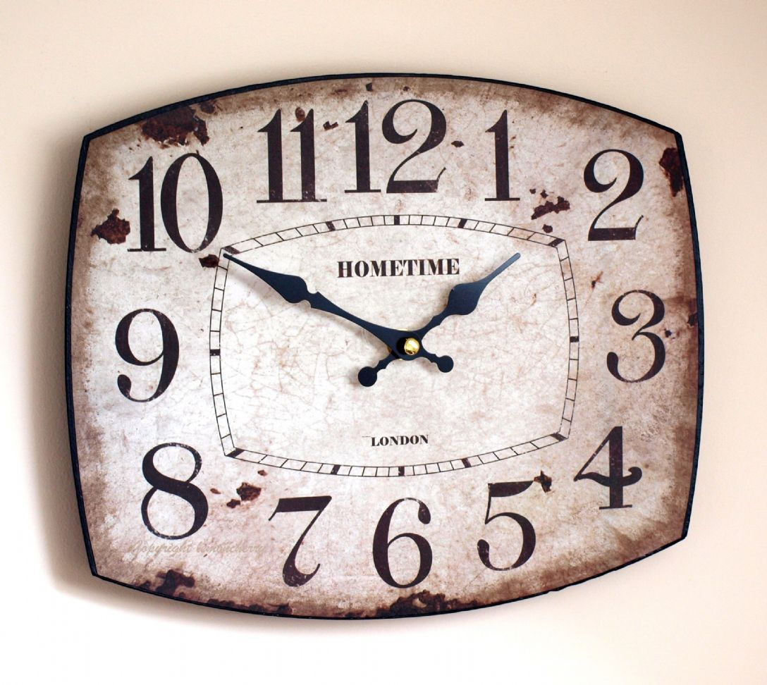 wall-clock-shabby-chic-distressed-vintage-antique-rustic-style-oval ...