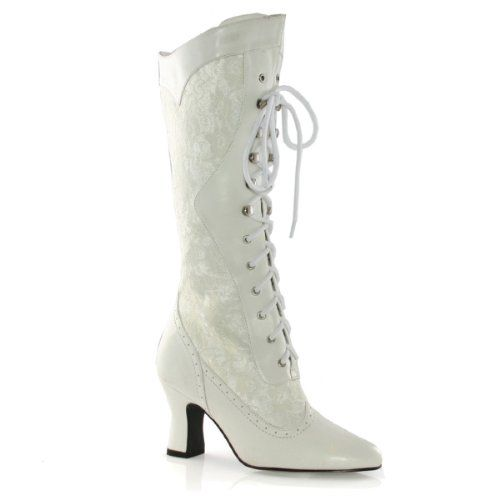 6ff5b0a6ad26b Women's Sexy Ivory White Boots White Lace Victorian Boots Mid Calf ...