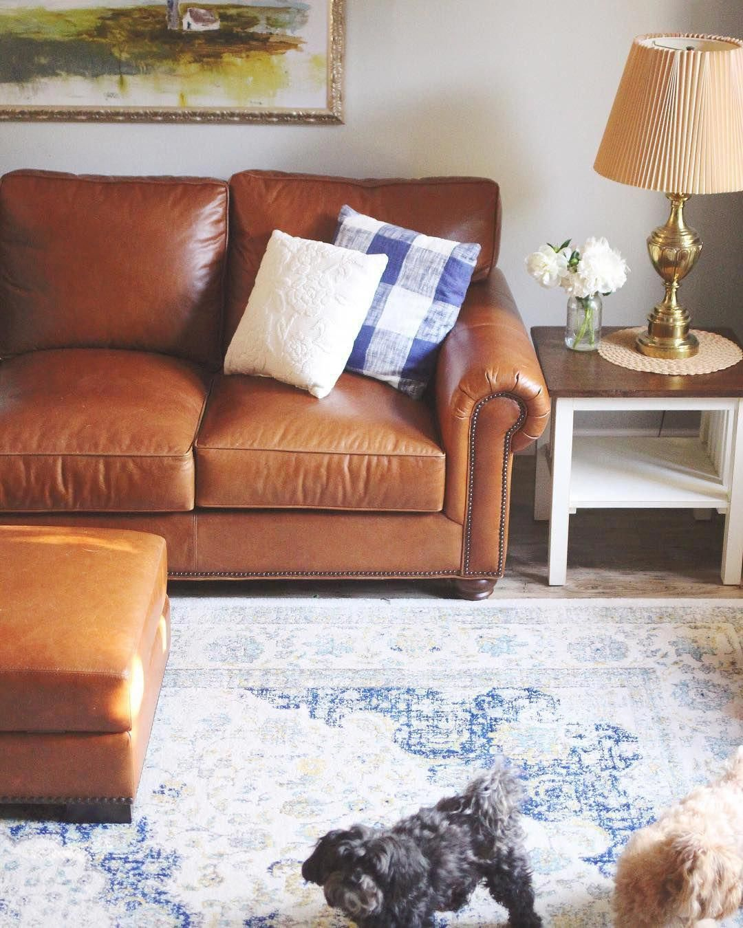 Living Room Inspiration Potterybarn Leathercouch Livingroom