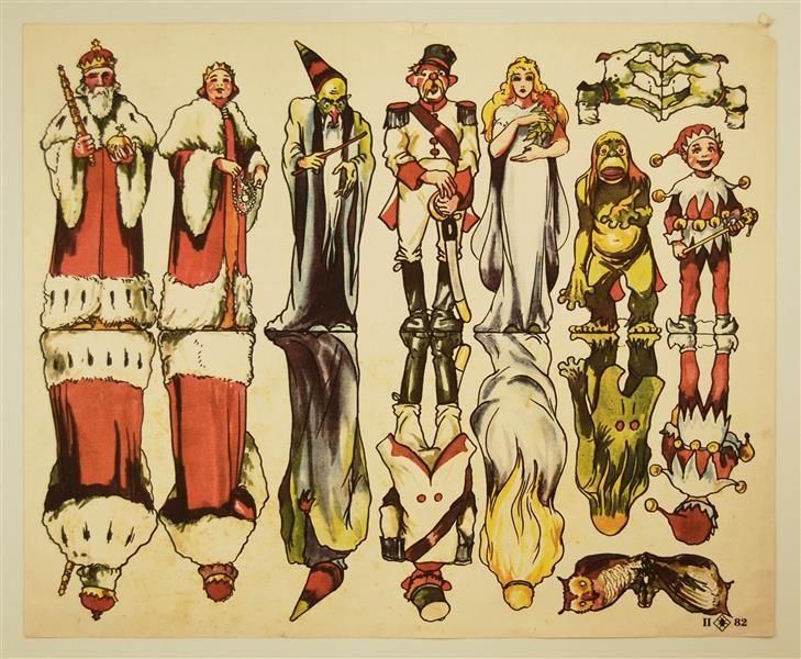 II. 82. [diverse Figuren: König, Königin, Zauberer, Soldat, junge Frau; Wassermann; Narr; Hund; Eule ]
