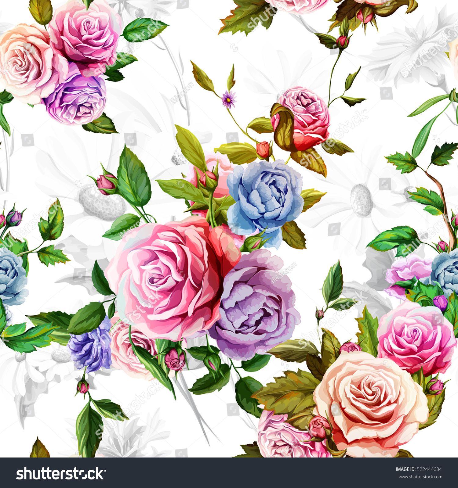 Edit Vectors Free Online Roses, peony Painted leaves