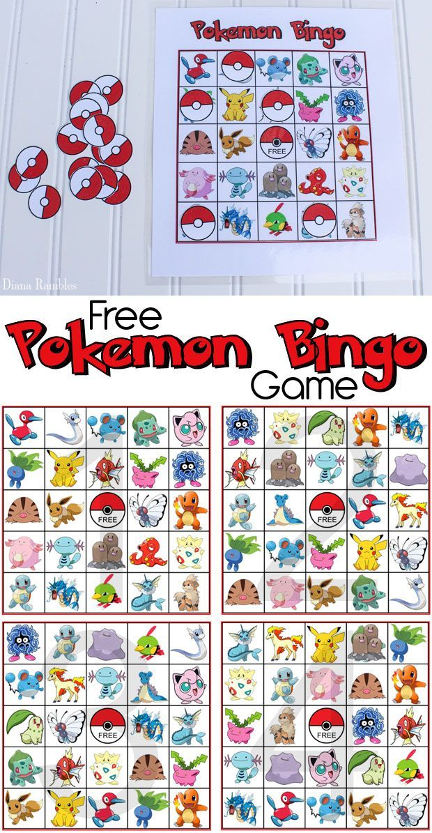 Pokemon Bingo Game Free Game Printable Download | Pokemon FUN