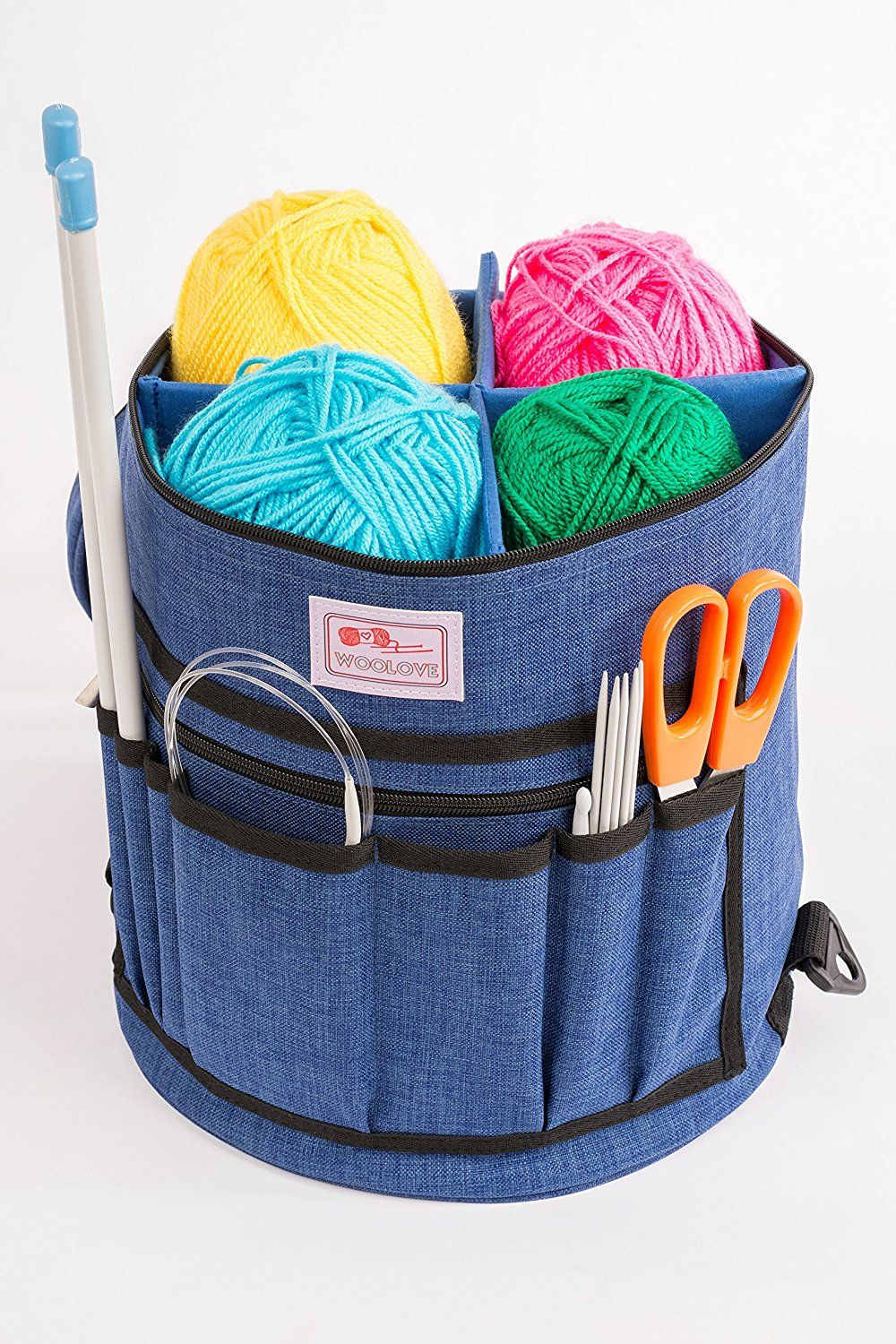Premium Knitting Bag By Woolove Yarn Holder Blue Xl Portable Tote Organizer For With 4 Detachable Dividers S On Top To Protect Wool