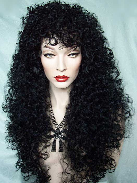 Sensuous Full Curly And Long Black Drag Queen Wig Wave