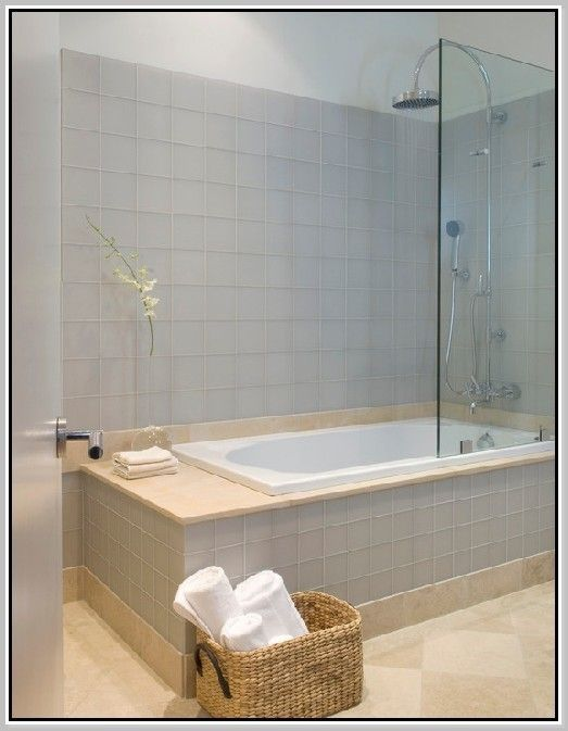 Whirlpool Tub Shower Combination One Piece Bathtub Combo Large Drop In And With Grey Gl Surrounding Tile Jpg 523 673 Pixels