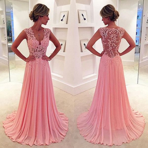 Elegant Lang Chiffon Spitze Applikation Rosa Kleid