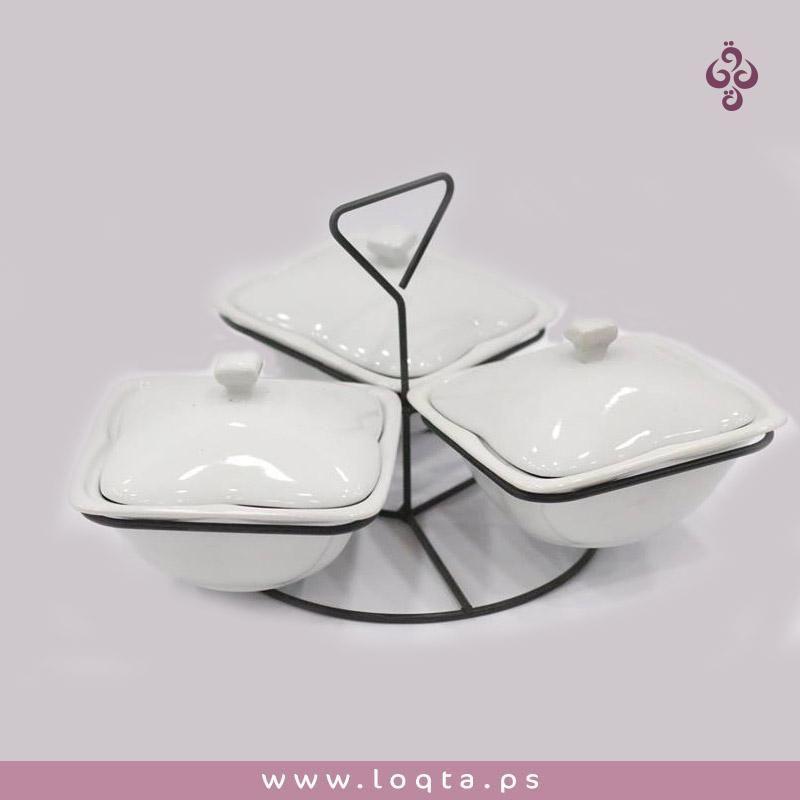 خليكي دايما مميزة عند ضيوفك وناسك صحون ضيافة مع ستاند لتقديم المكسرات والشوكولاه 3 صحون زجاج أبيض مع غطاء Dish Soap Soap Dishes