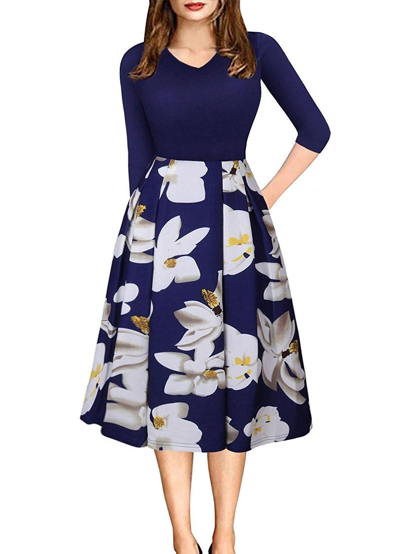 Womens Vintage Long Sleeve Floral Printed Patchwork Midi Dress Casual A Line Work Dresses Blue Co186dg3a6m Swing Dress Midi Dress Casual Casual Party Dresses [ 1500 x 1100 Pixel ]
