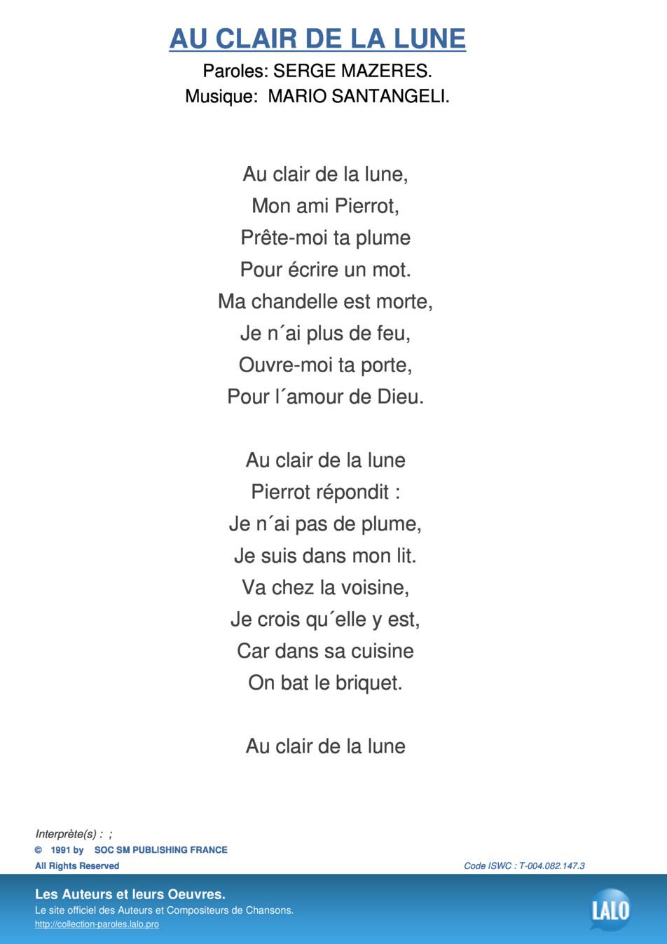 Sur La Lune Parole : parole, Paroles, Musique, Clair, Lalo.pro, Chansons, Françaises,, Parole, Musique,