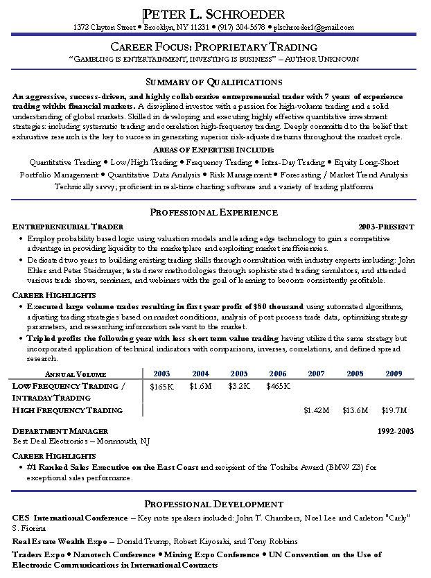 Proprietary Trading Resume - http\/\/wwwresumecareerinfo - sample traders resume