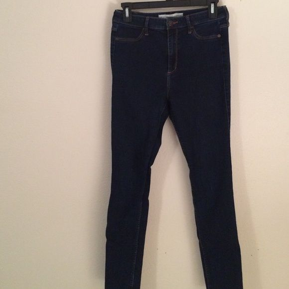 A&F High Rise Skinny Jegging Super stretchy and comfy. Jegging material so front pocket does not actually open, but the back pocket does open and they look like real jeans. Size 6 or 28W Abercrombie & Fitch Jeans