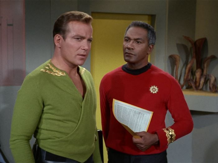 """15. The green suit...that's pretty much Shatner's """"Spanx"""" suit because he was getting fat. The only reason Captain Kirk started wearing this green, wrap-like outfit was to hide the fact that he was getting a little tubby around the belly."""