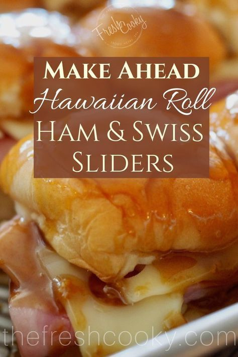 AMAZING Hawaiian Roll Ham & Swiss Sliders perfect for feeding a hungry crowd! These hearty, easy, make ahead sandwiches are loaded with ham, layered with melting swiss cheese and soaked in a delicious Worcestershire, mustard & butter slurry.  #thefreshcooky #hamandcheese #swiss #sliders #sandwiches #crowdpleaser #makeahead #largecrowd #tailgaiting #footballfood #holidaymeals #leftoverrecipes #hawaiiansweetrolls #hawaiianrolls #potluck #appetizers #holidayfoods