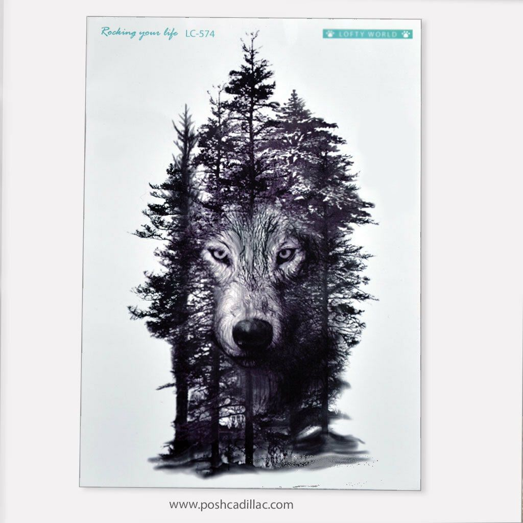 Big Temporary Waterproof Tattoo Black Detailed Realistic Forest Tree Lycos Wolf  | eBay