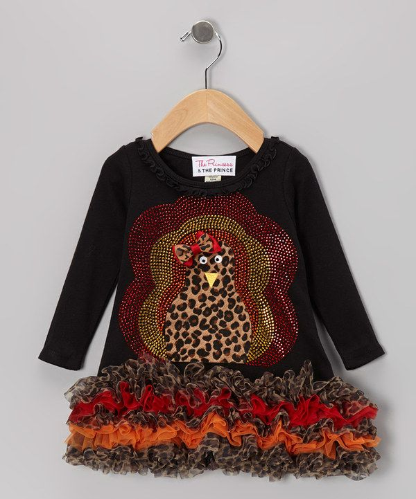 Take a look at this The Princess and the Prince Black Leopard Fuzzy Turkey Ruffle Dress - Infant, Toddler & Girls on zulily today!