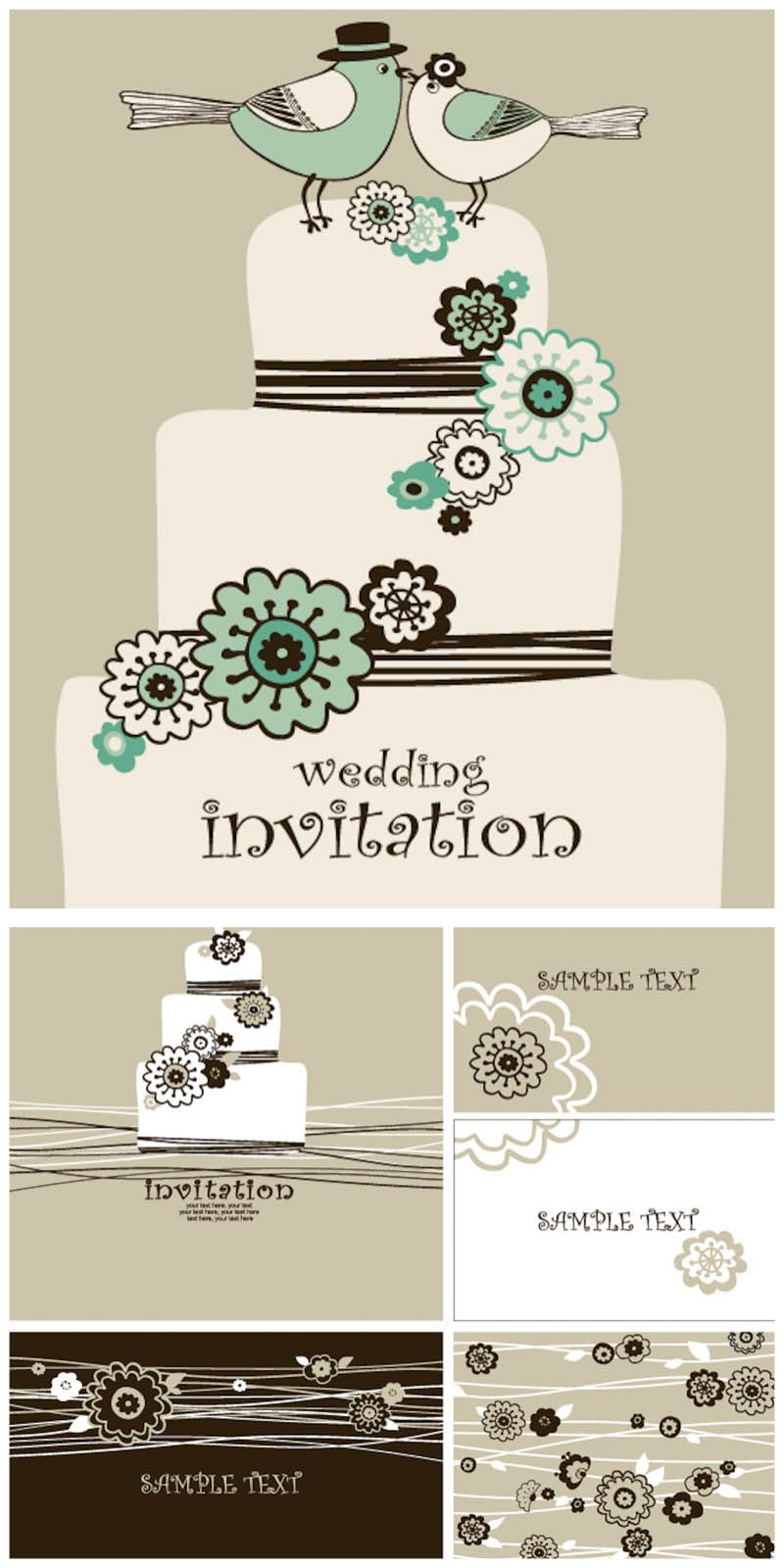 Decorative wedding invitation card templates vector free vector set of vector minimalist style wedding invitation card templates with decorative illustrations of wedding cake and some flowers for your designs stopboris Images