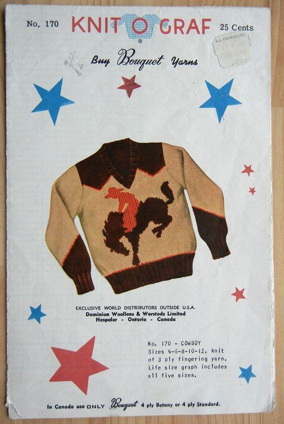 Knit-O-Graf Knitting Pattern - No. 170 - Cowboy Pullover Sweater ...