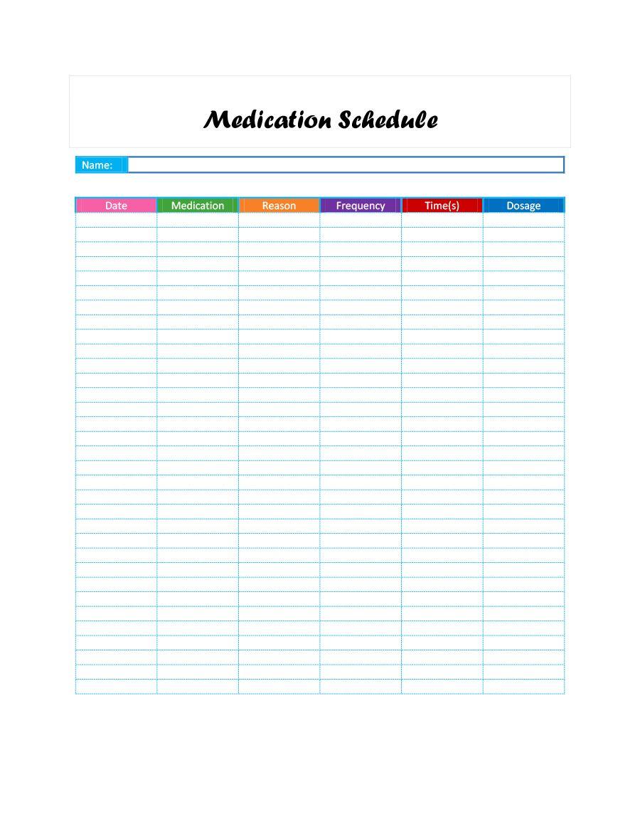 40 Great Medication Schedule Templates Medication Calendars Inside Med Card Template Cumed Org Medication Chart Schedule Templates Medication List Excel template for medication schedule