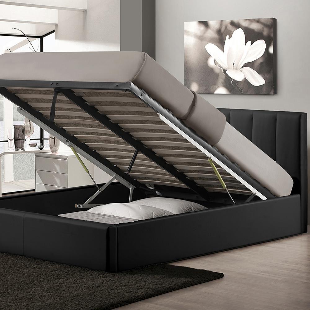 Baxton Studio Engelbertha Black Queen Upholstered Bed 28862 6112 Hd Lift Storage Bed Queen Size Storage Bed