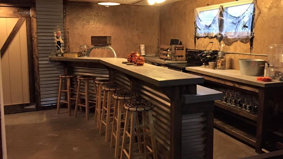 Built a bar in the basement concrete counter tops 4 beer for Built in bar counter