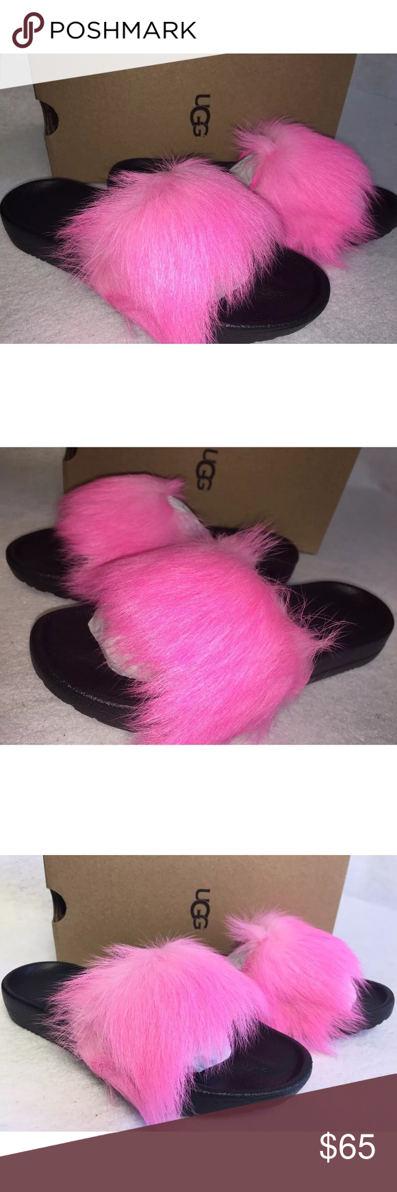 5e5138559aa UGG FLUFFY ROYALE NEON PINK SLIPPERS NEW size 7 UGG FLUFFY ROYALE ...