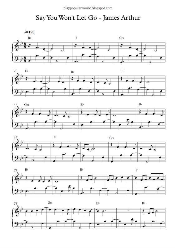 Say You Won T Let Go James Arthur Piano Sheet Music Free