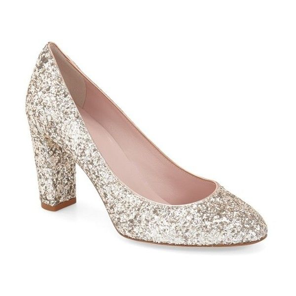 """kate spade new york 'dani too' pump, 3 1/2"""" heel (£225) ❤ liked on Polyvore featuring shoes, pumps, rose gold metallic nappa, sparkly pumps, glitter shoes, round toe pumps, sparkly shoes and rose gold metallic shoes"""