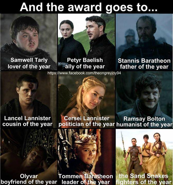 Game of Thrones funny meme. season 5 awards Bolton game
