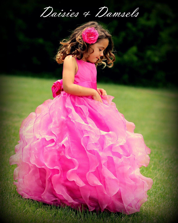 Flower Girl Dress Hot Pink Organza Cascading Vertical Ruffles Made
