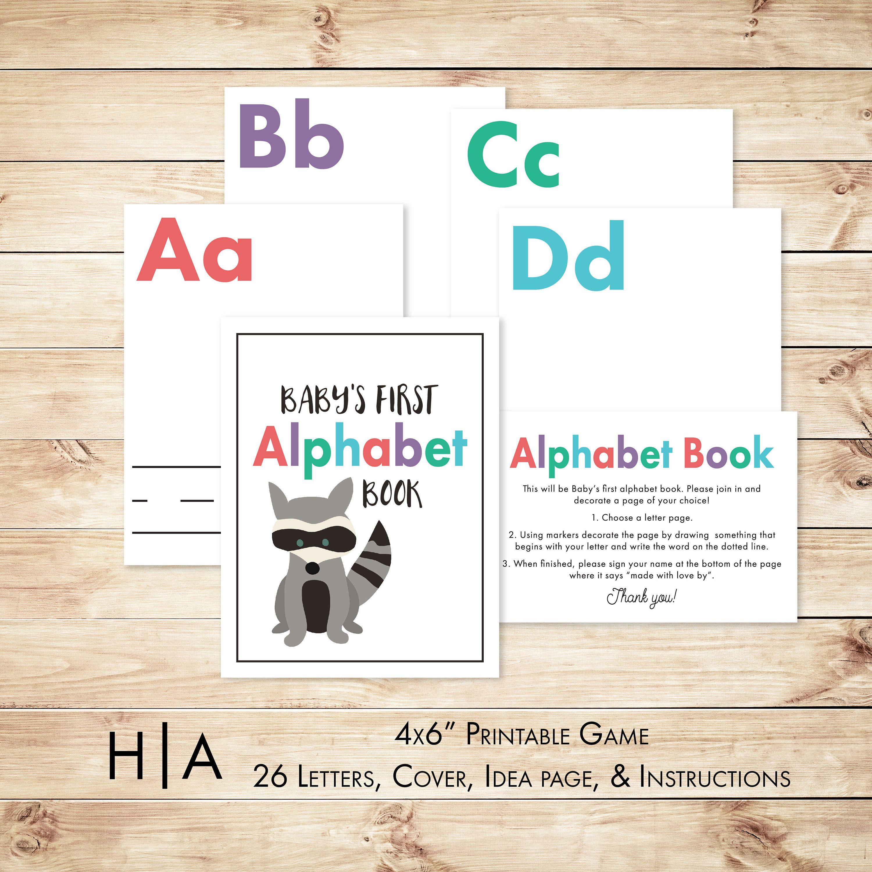 "Alphabet Game Baby Shower DIY ABC Book 4x6"" Woodland Animal Theme"