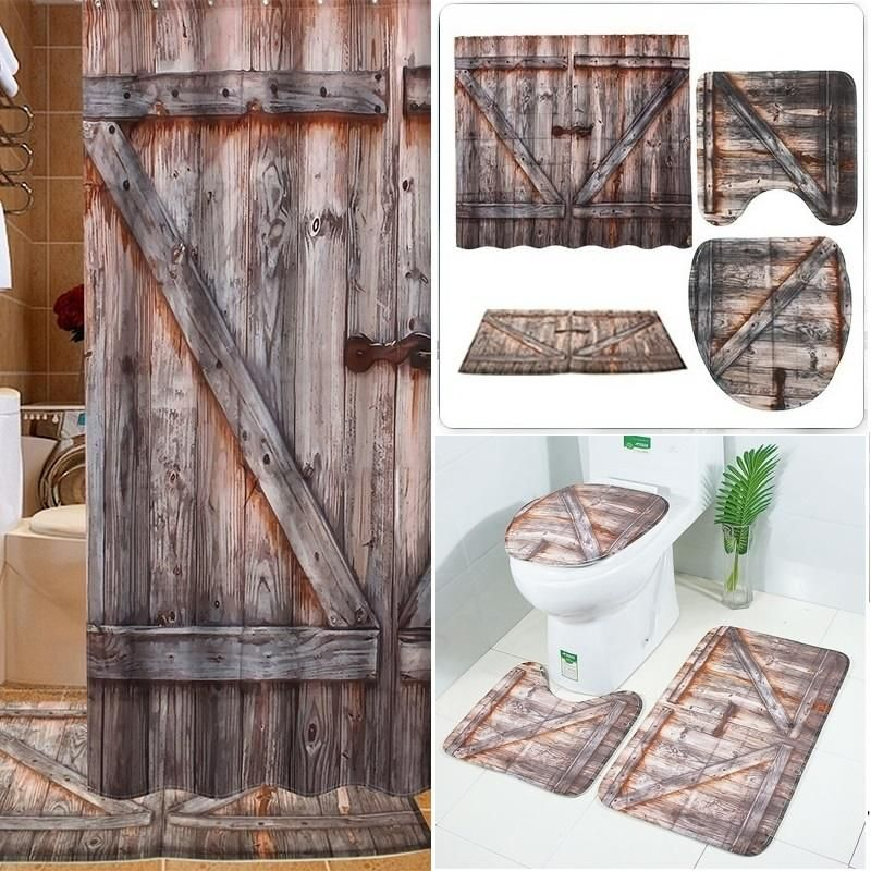 Creative Shower Curtains Old Wooden Barn Door Waterproof Floor Mat Toilet Set Mat 3d Digital Printing Bathro Bathroom Curtain Set Wooden Barn Doors Wooden Barn