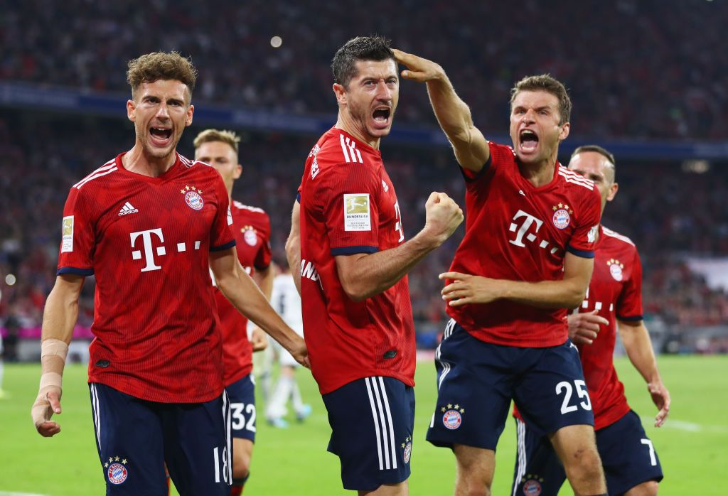 Robert Lewandowski Of Bayern Munich Celebrates After Scoring His Bundesliga Hoffenheim Munchen