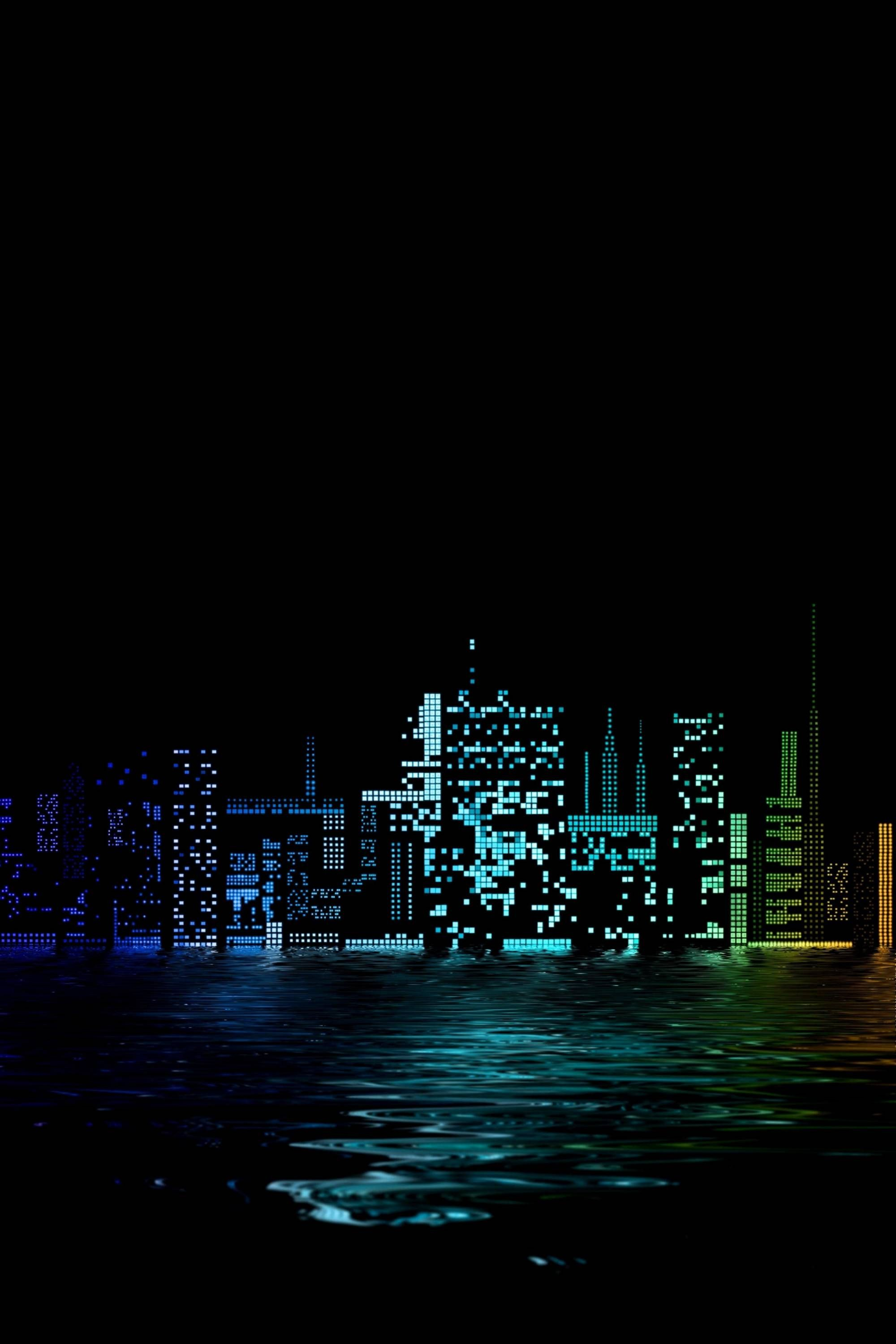 city in night amoled wallpaper for android and iphones