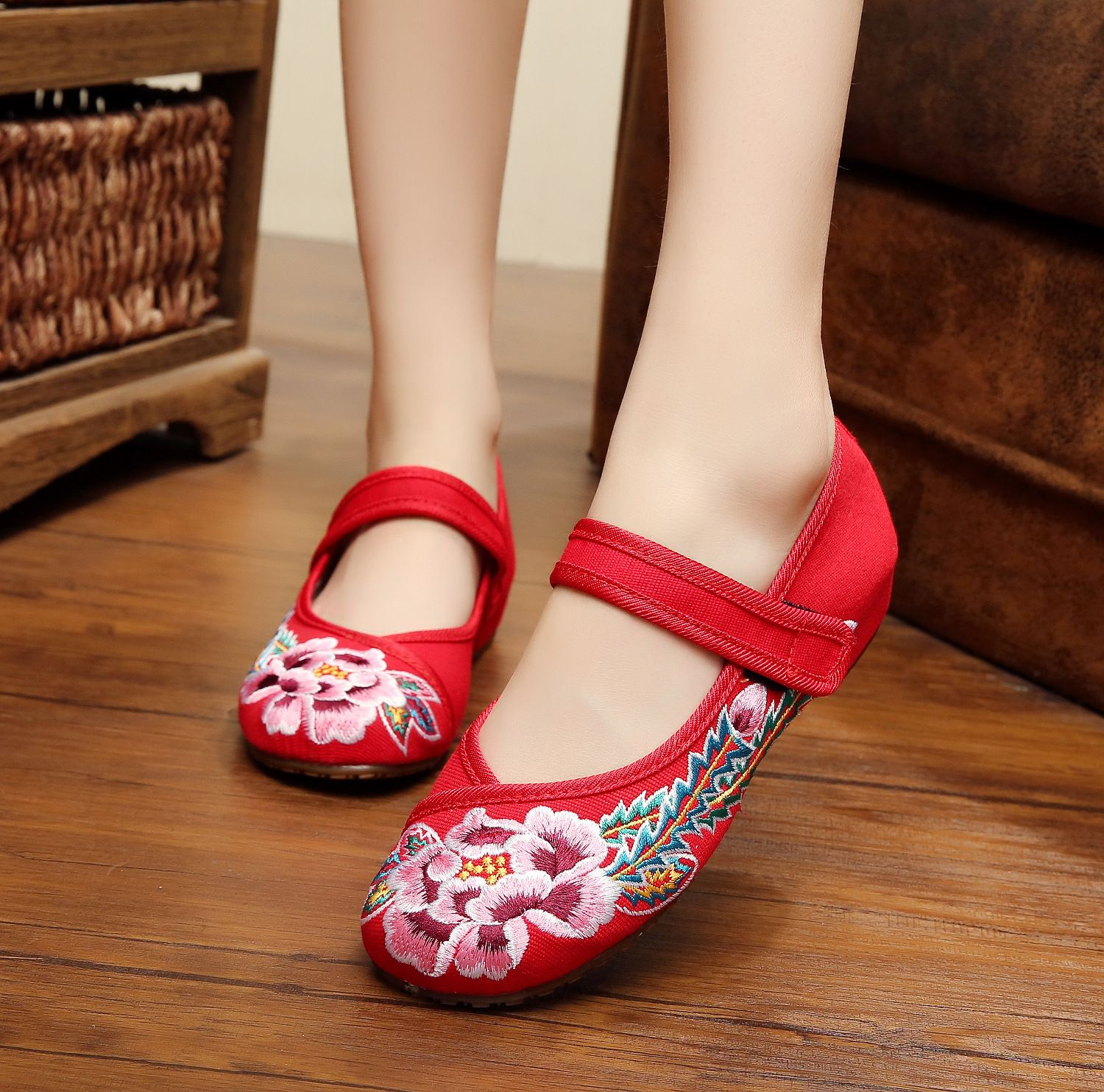 Shoes For Women Old Peking Flat Heel Canvas Flats Casual Blue Red
