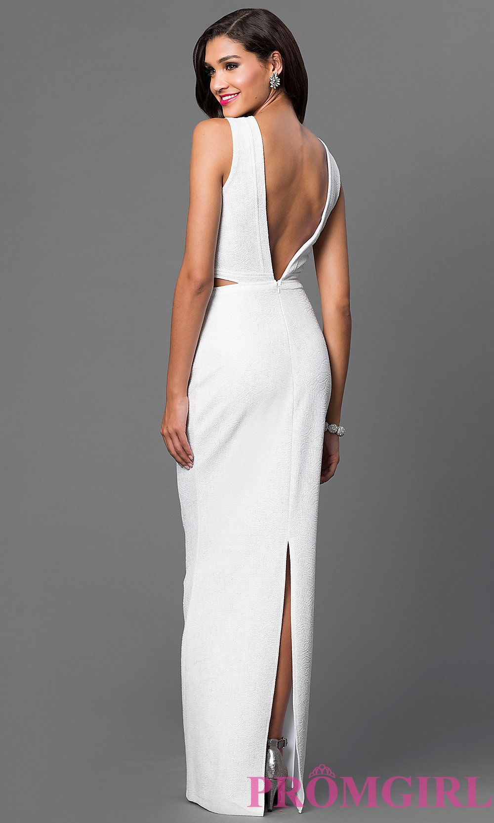 Image of sleeveless floor length open back dress back image
