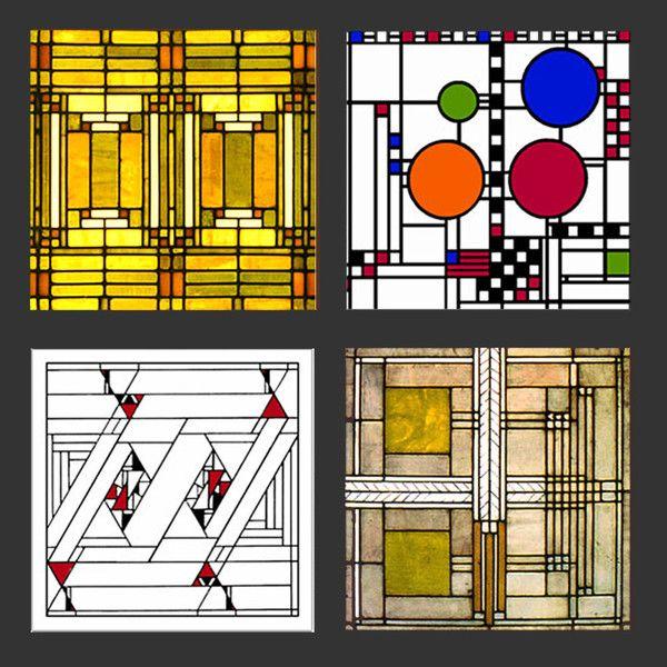 Frank Lloyd Wright Glass Designs Coasters Gift Set 1 Frank Lloyd Wright Stained Glass Frank Lloyd Wright Art Glass Frank Lloyd Wright Glass