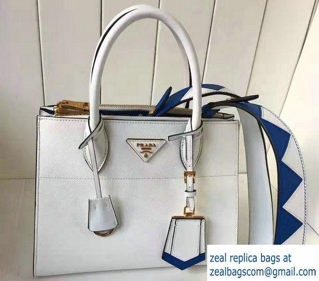 1382e41e1884 ... real prada paradigme saffiano and calf leather bag 1ba103 white sea  blue with embellishments on the