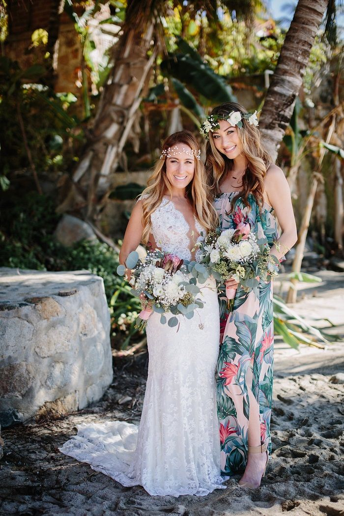 Bride and bridesmaid in printed dress | Fabmood.com