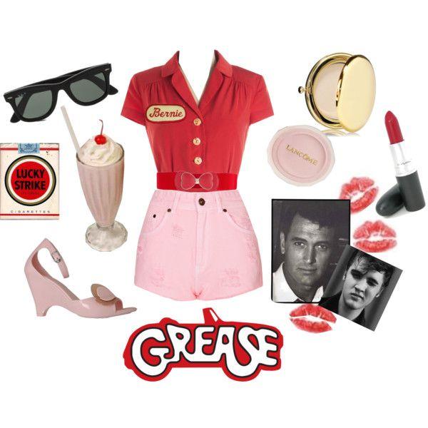 Adult Ladies UK 8-18 Red Rocking Rebel Fancy Dress Costume 1950 Rock n Roll