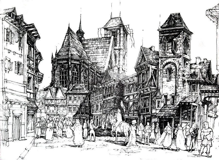 'Medieval town', pen historical architecture drawing by ...