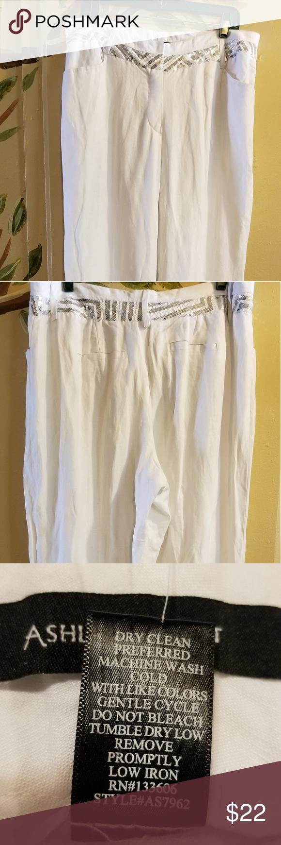 e9f0cfca72f51 ASHLEY STEWART Women s Linen Wide Leg Pants Ashley Stewart Women s Size 14 NWT  White Linen Blend