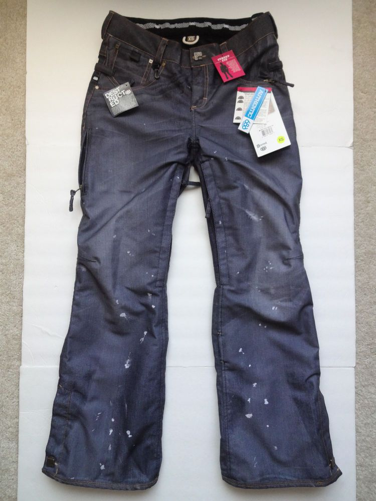 686 Reserved Destructed Denim Snowboard Pants Snow Ski Street Fit InfiDRY XS